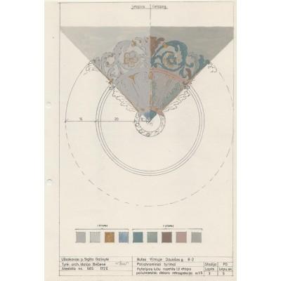 Patalpos 3 VI-to ir V-to strat. sluoksniu rozetes polichrominio dekoro retrospekcija